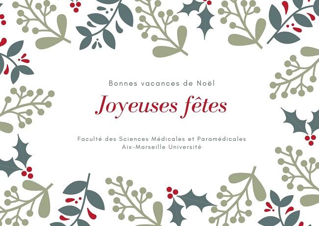 Bonnes vacances de Noël et Joyeuses fêtes - Faculté des Sciences Médicales et Paramédicales - Aix-Marseille Université